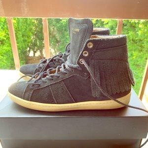 Saint Laurent shoe black suede fringe high top